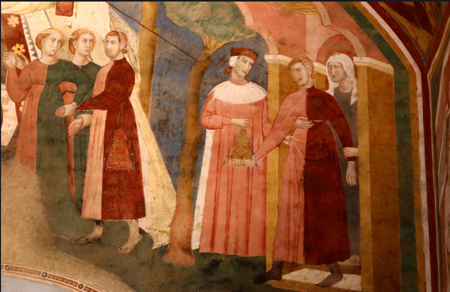 Memmo of Filippuccio (1250-1325) - The young man emancipates himself and asks money to parents - cycle of frescoes with the theme profane love (1303-1310) - the Podesta Room - Tower of the City Hall of San Gimignano