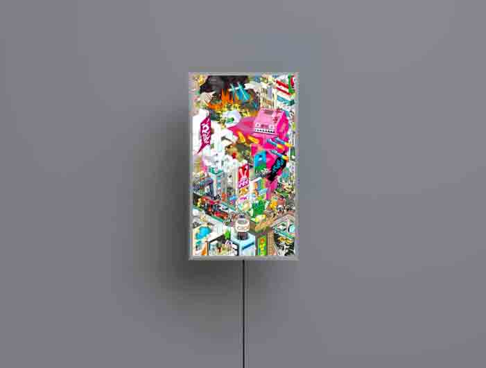 The minimalist MonoX7 is an internet-connected digital art display from https://mono.frm.fm/en/shop/